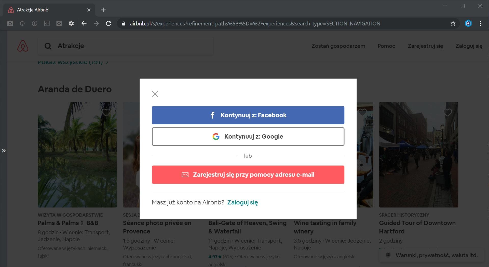 Airbnb rejestracja konta